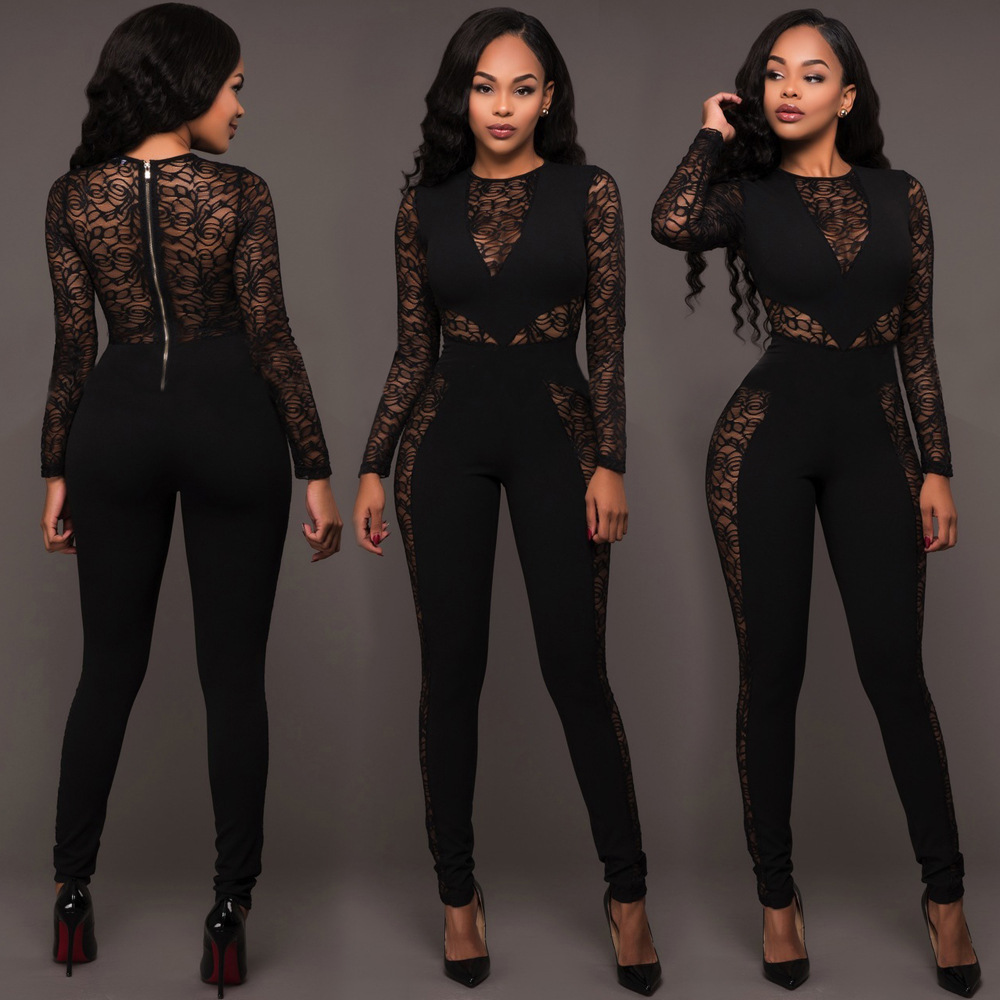 Long Sleeve Black Lace Jumpsuit Women Sexy See Through ...