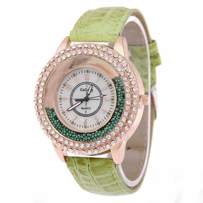 2019 יוקרה מותג ליידי קריסטל שעון נשים שמלה שעון אופנה עלה זהב קוורץ שעונים נקבה עור רצועת שעוני יד