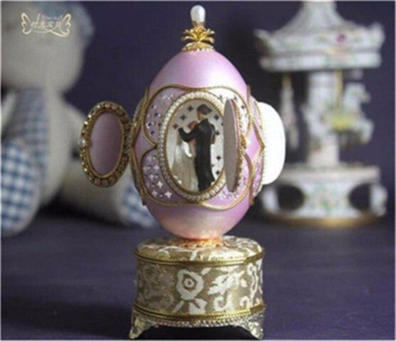 Royal Noble coquille d'oeuf perle diamant coeur danse ballerine boîte à musique mariage main manivelle boîte à musique mécanisme pour filles femmes cadeau