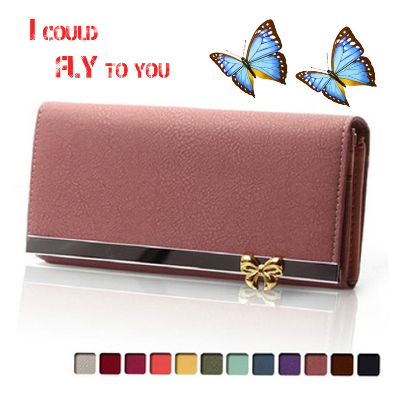 Free Shipping Women Wallets Soft PU Leather Bag Bowknot Coin Purse Candy Color Purses Female Handbags Clutch Wallet Card Holder auau soft leather women wallets bowknot clutch bag long pu card purse wallet for womens rose red
