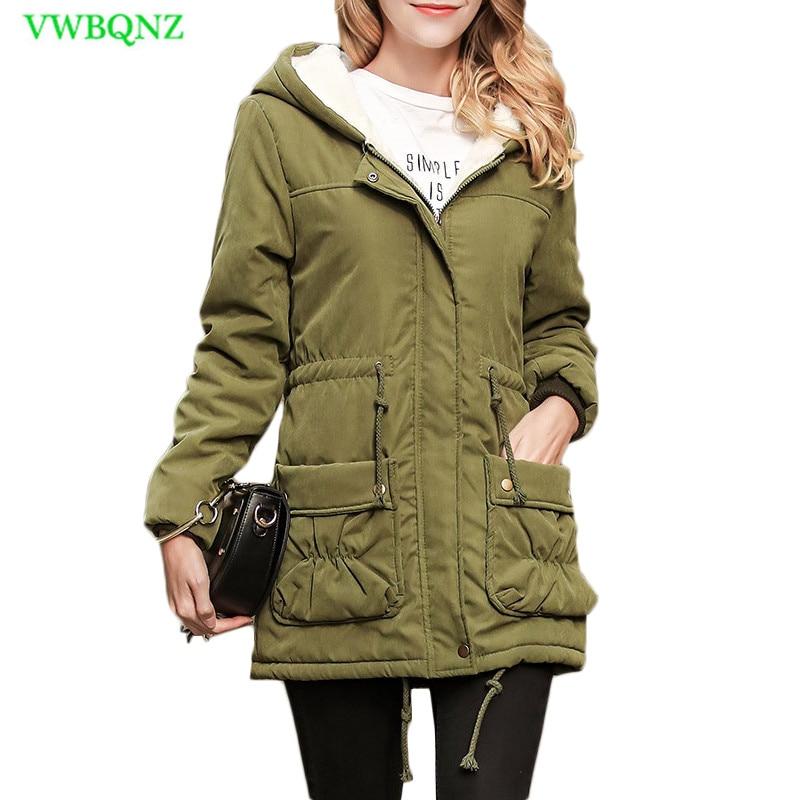 Women   Parkas   Army green Hooded Outwear Medium-Long Style Warm Winter Coats Casual wool Tops Adjustable Waist cotton coats A938