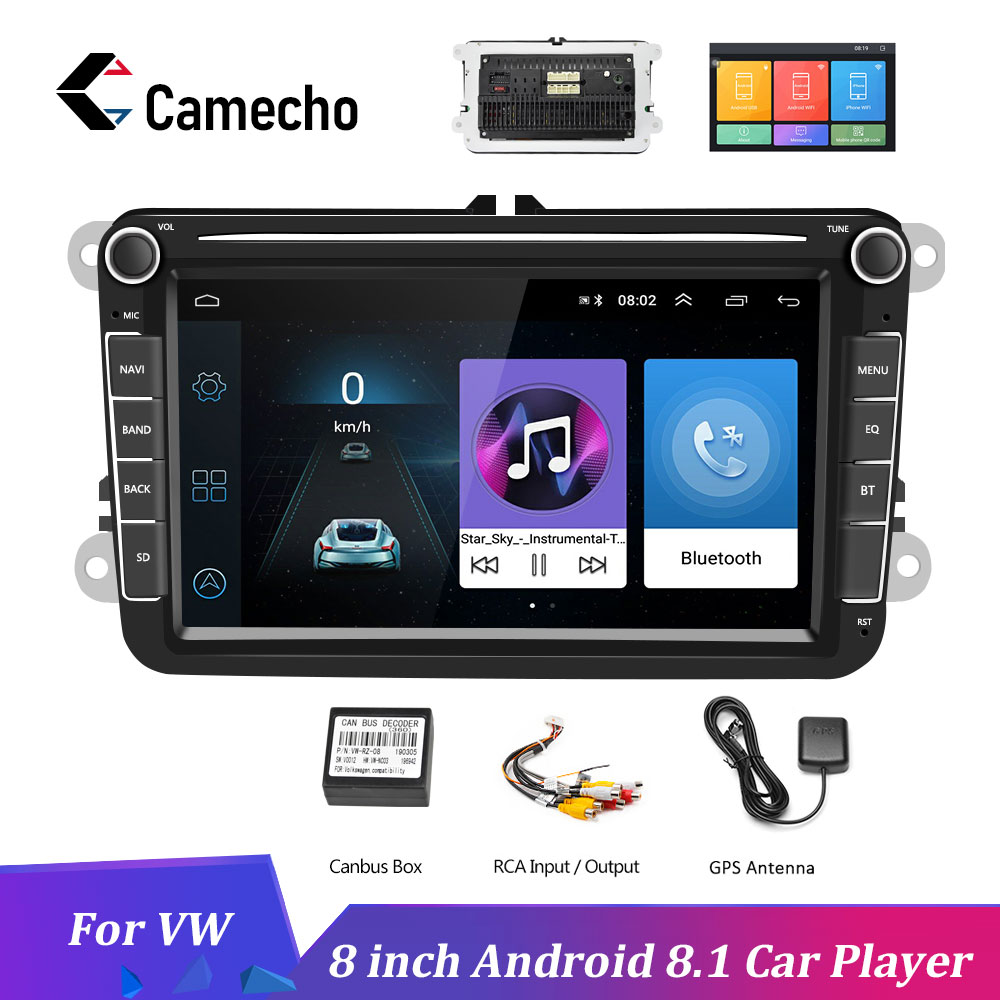 Camecho <font><b>2Din</b></font> Auto Radio <font><b>Android</b></font> 8.1 Auto MP5 Multimedia Video Player GPS Auto Audio Stereo 8 ''Für Seat/<font><b>Skoda</b></font> /Passat/Golf/Polo image