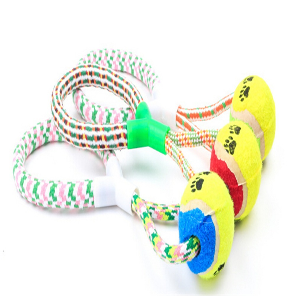 Cotton Ball Bone Knot Indestructible Dog Toys Aggressive Chewers Durable Rope Braided Ball Dog Puppy