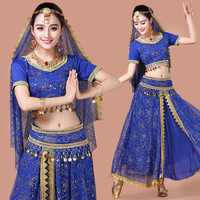 Women Belly Dance costume lady Indian Dance dress bollywood bellydance 5pcs/Set Performance Female Adult with coins accessories