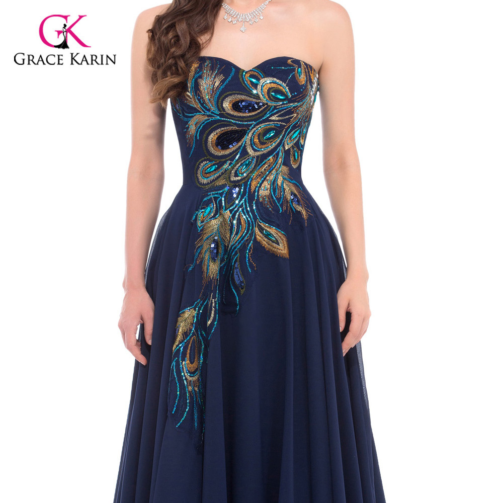 Peacock Bridesmaid dresses 2018 Grace Karin Chiffon plus size Purple royal  Blue long Prom cheap bridesmaid dresses under 50-in Bridesmaid Dresses from  ... a40e12491749