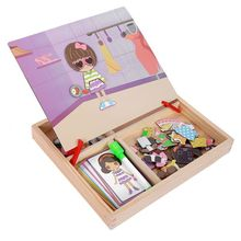 MWZ magnetic fun jigsaw children wooden puzzle board box pieces games cartoon educational drawing baby toys for girls boys, Va