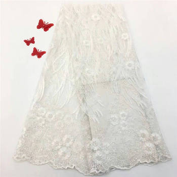 French Net Lace Fabric 2019 Latest african guipure lace fabric with embroidery mesh tulle pink cord Sequins lace fabric white