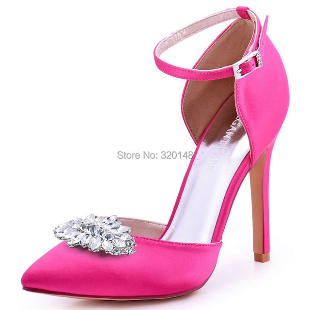Woman Hot Pink Pointy High Heel Prom Pumps Ankle Strap Satin Bride  Bridesmaids Wedding Bridal Evening 1cc6b8ffe611