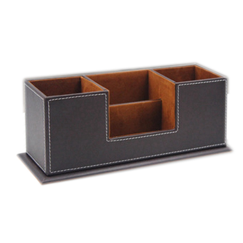 Office Pencil Holder Pu Leather Multifunctional Desk Supplies Organizer for Pen/Pencil/Business Cards/Phone/Stationery Accesso