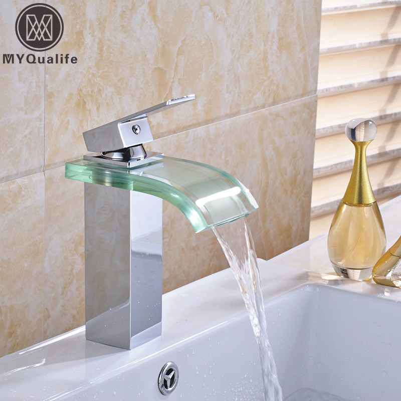 Chrome Glass Waterfall Spout Basin Sink Faucet Deck Mount Bathroom Mixer Taps Chrome Finish with Hot and Cold Water
