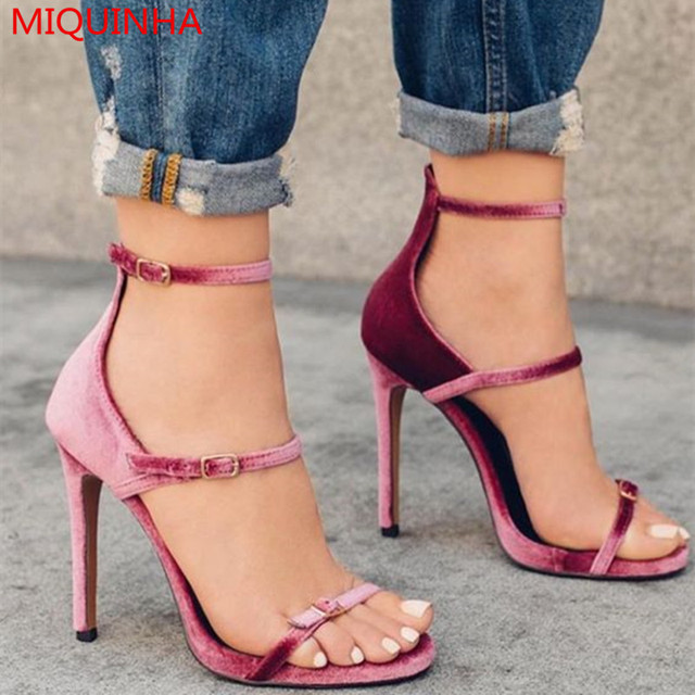 d0be9c4de0 MIQUINHA Fashion Velvet Strappy Women Sandals Open Toe Ankle Strap Triple  Band Buckle Stiletto High Heel Gladiator Sandals Shoes