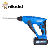 21V rechargeable lithium battery electric hammer drill wall impact drill Concrete 4-26mm screwdriver rotary hammer power tools(China)