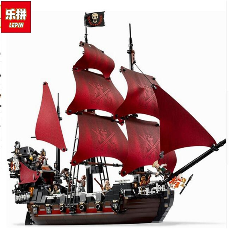 Lepin Queen Anne's Revenge 1151Pcs Mini Bricks Set Sale Pirates of the Caribbean Blackbeard Building Blocks Toys For Kids lepin 16009 the queen anne s revenge pirates of the caribbean building blocks set compatible with legoing 4195 for chidren gift