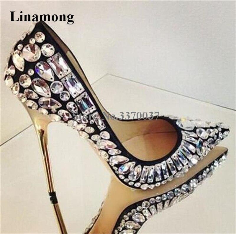 Women Brand Design Pointed Toe Bling Bling Rhinestone Stiletto Thin Heel Pumps White Black Crystal High Heels Wedding Shoes