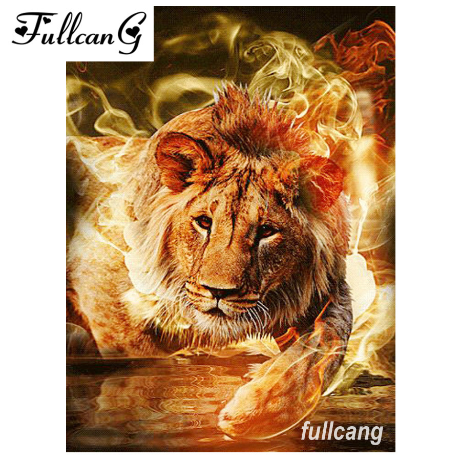 FULLCANG diy diamond embroidery fire lion 5d diamond painting cross stitch full square drill mosaic needlework kits D607