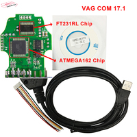 2017 Vag Com For VW Audi Seat Skoda VAG OBD2 Diagnostic Cable With FT232RL ATMEGA162 Chip