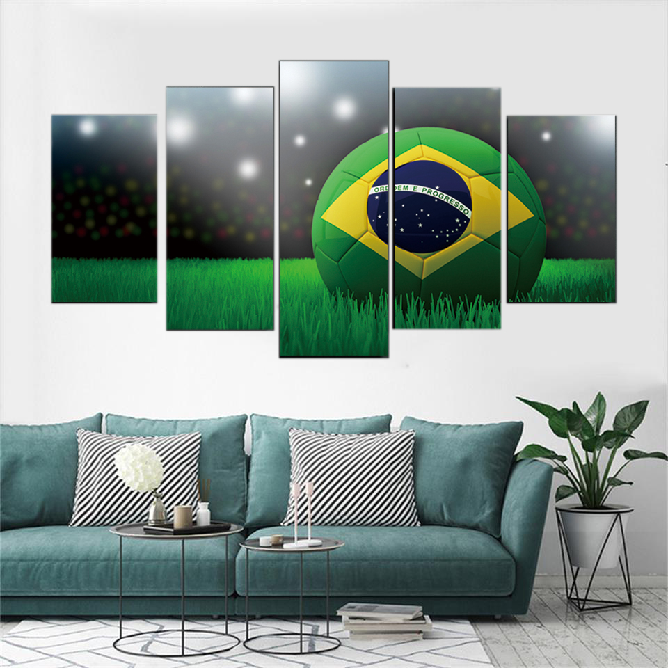 HD Printed Modular Abstract Pictures Posters 5 Panel Soccer Landscape Canvas Painting Wall Art Framework Decorative Living Room