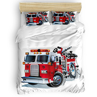 Cartoon Fire Truck Eve Of All Saint's Day Duvet Cover Sets California King All Soul's Day Living Room Comfort Bedroom Womens