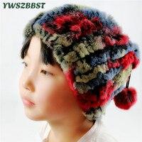 New Autumn Winter Children Hats Baby Real Rabbit Fur Hat Kids Pom Pom Ball Hat Girls Boys Beanies Cap