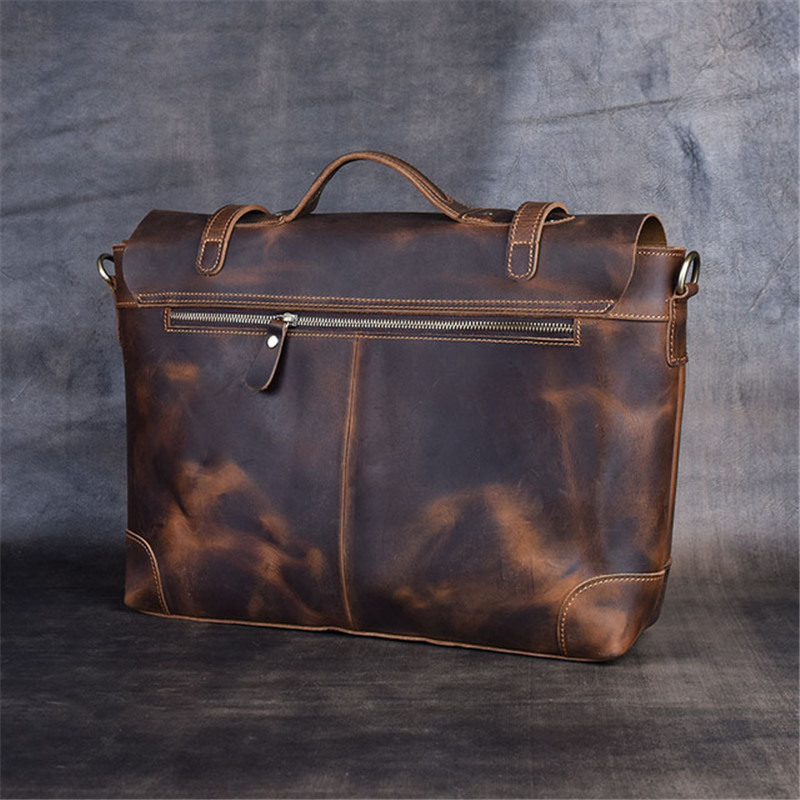 PNDME handmade genuine leather briefcase retro crazy horse cowhide simple handbag men's shoulder messenger bag laptop bags