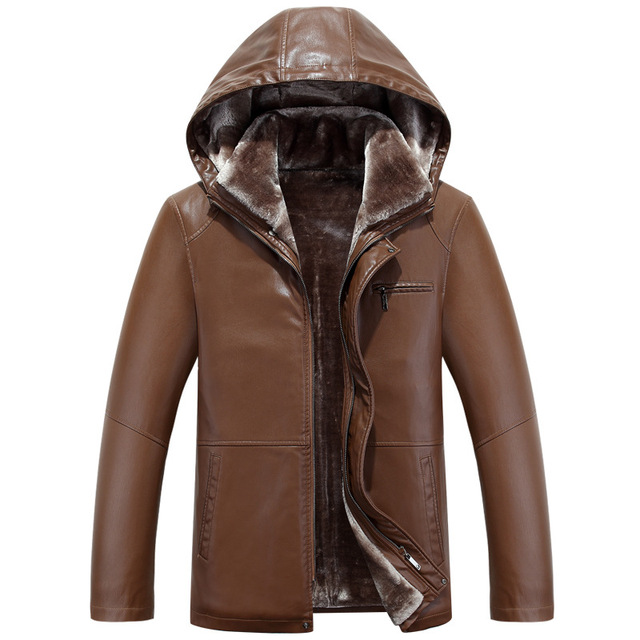 Men Jacket Leather Sheepskin Motorcycle Coat With Hat Thick 2016 Winter New Fashion Style High Quality Clothing  M-3xl 3color