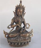Collection Tibetan Buddhism Buddha Brass statue Fine hand carved Metal Crafts Green Tara Buddha copper/bronze sculpture