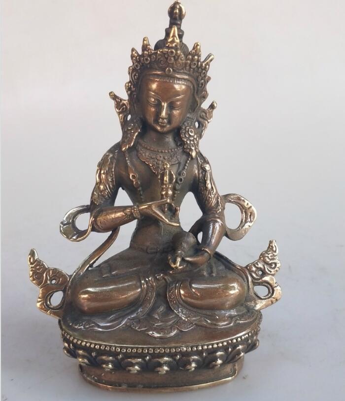 Collection bouddhisme tibétain bouddha laiton statue Fine métal sculpté à la main artisanat vert Tara bouddha cuivre/bronze sculpture