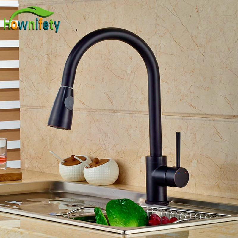 Luxury Oil Rubbed Bronze Kitchen Vessel Sink Faucet Deck Mounted Hot Cold Water Taps Single Lever