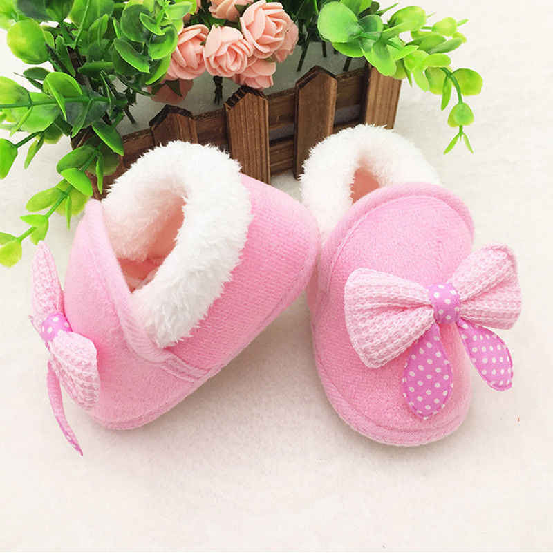 Toddler Infant Newborn Baby Girls Cute Bow Soft Crib Sole Boots Prewalker Warm Shoes First Walkers