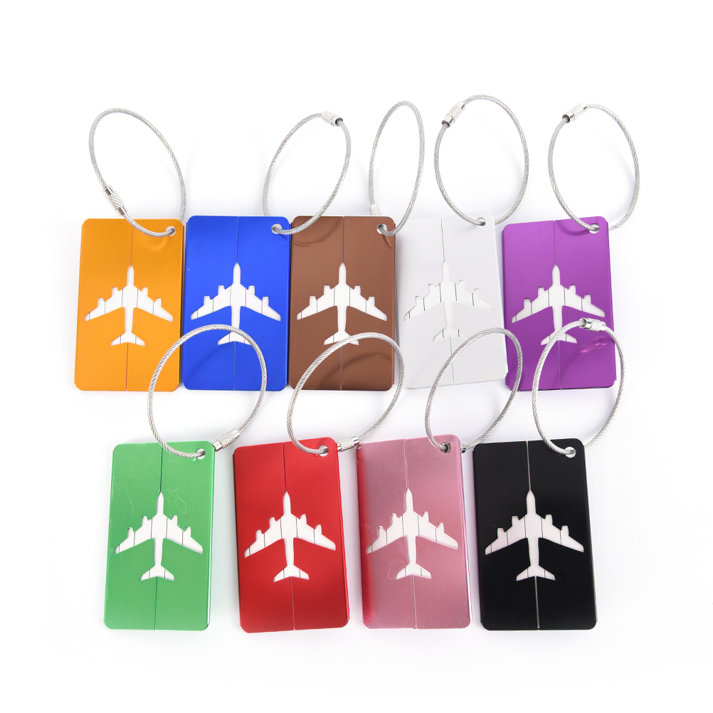 Hot Sale 7.5*4.4cm Rectangle Aluminium Alloy Luggage Tags Travel Accessories Baggage Name Tags Suitcase Address Label Holder