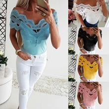 Women Embroidery T Shirt Top Sexy Lace Characteristic One-collar Comfortable Solid Elegant Casual T-shirts