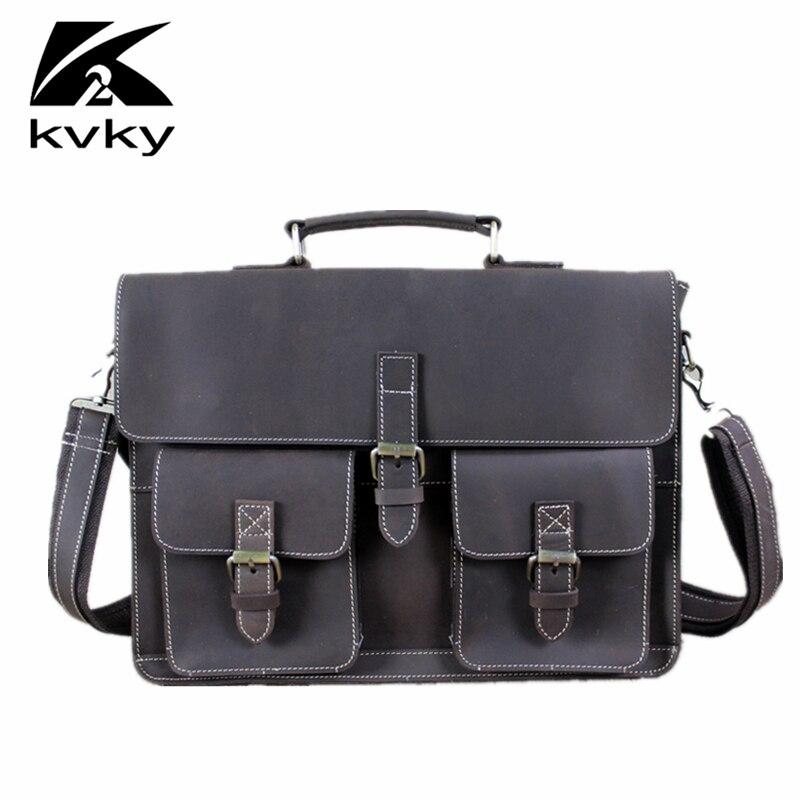 KVKY Vintage Genuine Leather Men Messenger Bag Large Capacity Men Briefcase Business Men Laptop Handbag Fashion Men Shoulder Bag