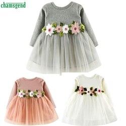 Chamsgend Милая одежда для малышей Девушка цветочный пачка платье принцессы с длинными рукавами jan25 P30 Прямая доставка