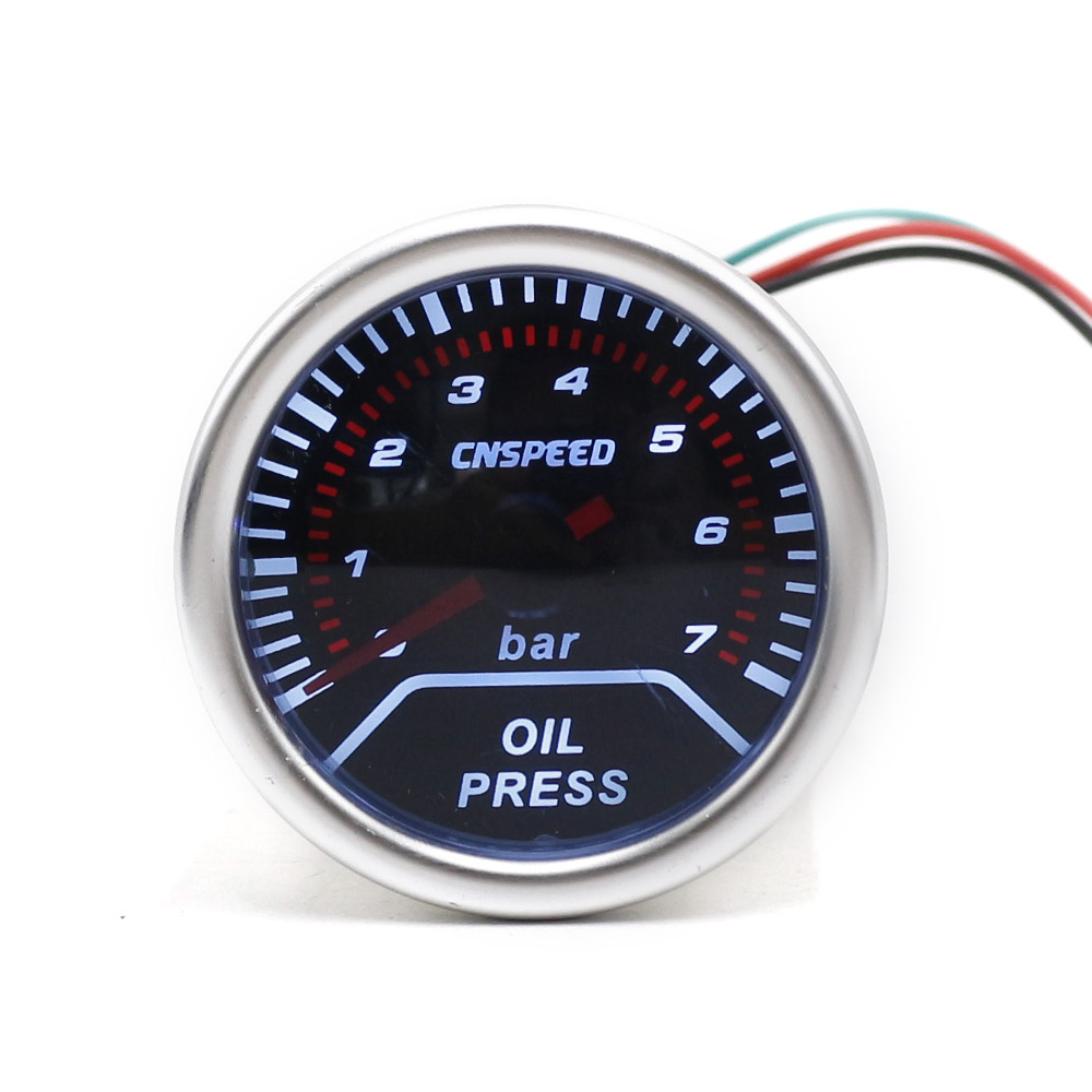 CNSPEED 252mm 12V Car Auto Oil Press Gauge 0-7Bar Oil Pressure Guage With Sensor Smoke Lens Racing White LED Car Pressure Meter cnspeed 252mm 12v car auto oil press gauge 0 7bar oil pressure guage with sensor smoke lens racing white led car pressure meter
