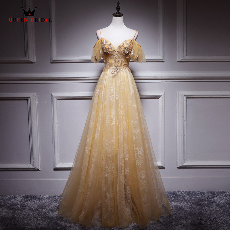 Real Sample A line Floor Length Sequins Lace Up Evening Dresses 2019 New Arrival Long Evening