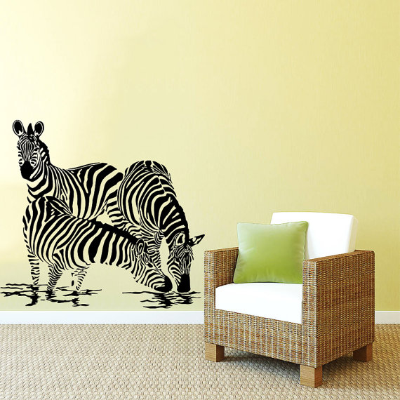 Kids Nursery Bedroom Bathroom Wall Decor Zebra Drink Water Jungle Animal Wall Sticker Vinyl Jungle Safari