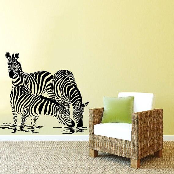 Kids Nursery Bedroom Bathroom Wall Decor Zebra Drink Water Jungle Animal  Wall Sticker Vinyl Jungle Safari