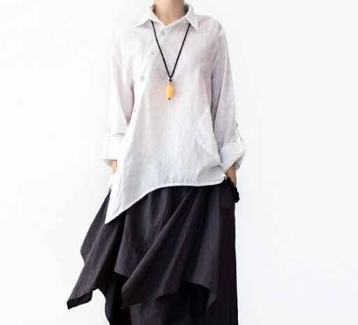 2365e63bdaf Новый осенний длинный рукав отложной воротник простой свободный  Национальный Ветер косой разрез Асимметричная рубашка блузка mori