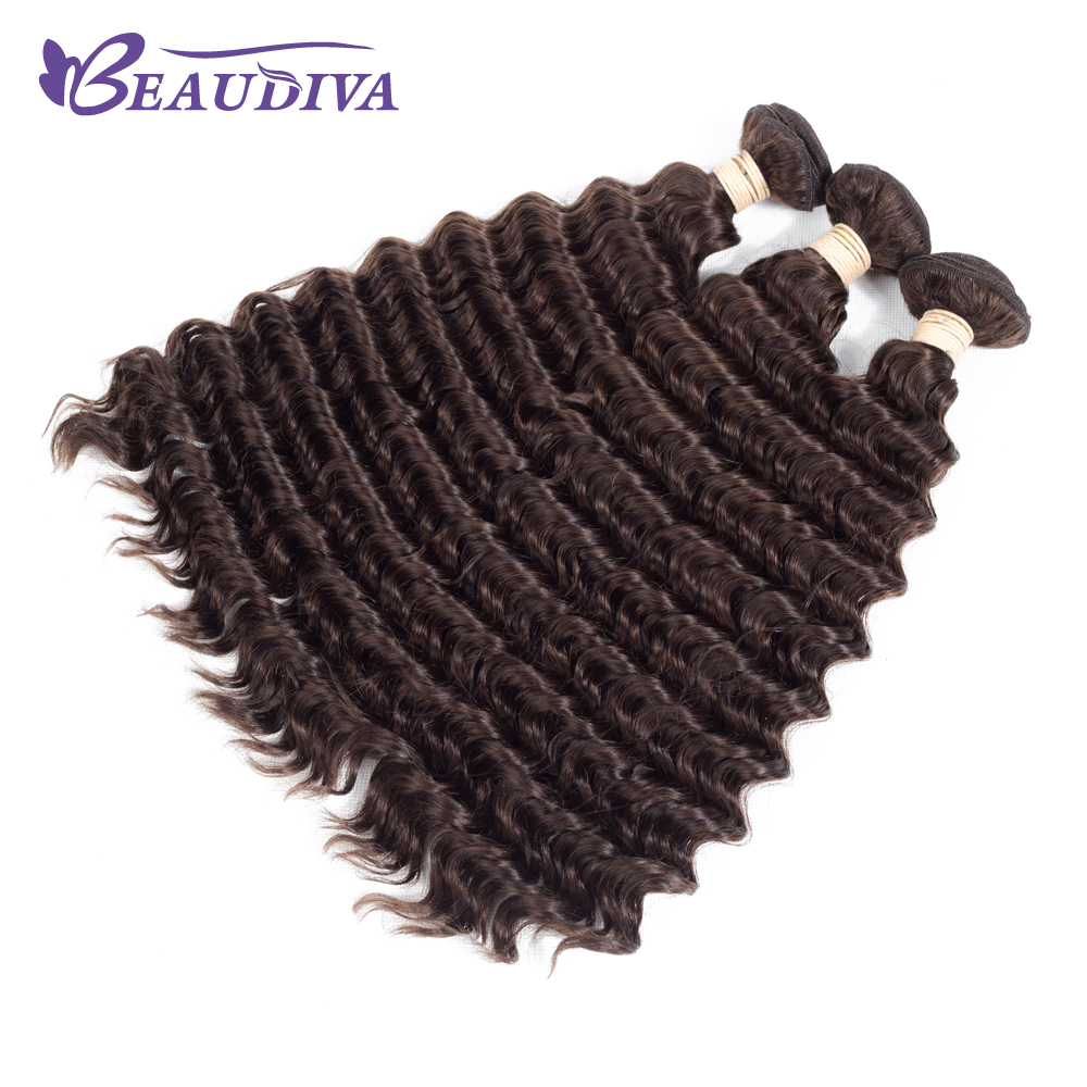 BEAUDIVA 4 # Faisceaux De Vague Profonde 3 pièces Cheveux Brésiliens Armure Faisceaux 100% Remy Cheveux Humains 3 Faisceaux Livraison Gratuite 8-24 pouces