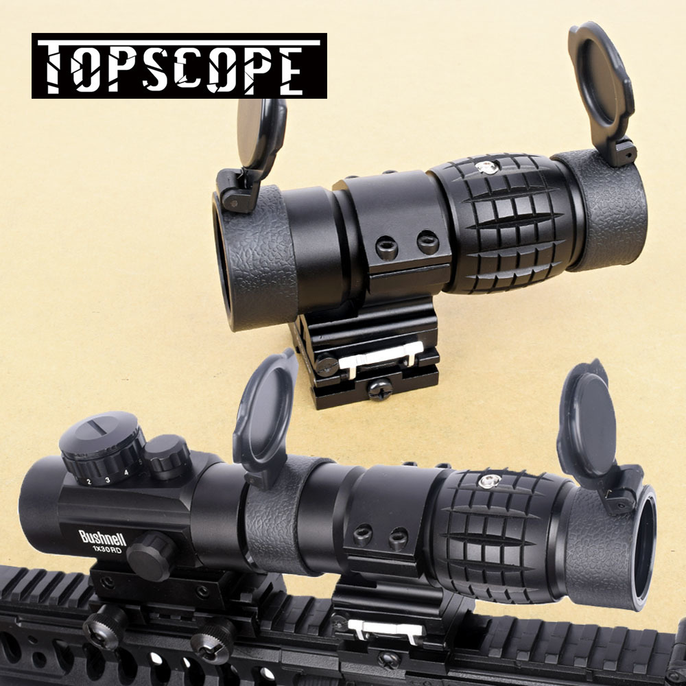 Tactical 3X Magnifier Scope Optics Scopes Riflescope Fits Aimpoint Sight with Flip UP Flip-UP Mount Side Picatinny Weaver Rail цена и фото