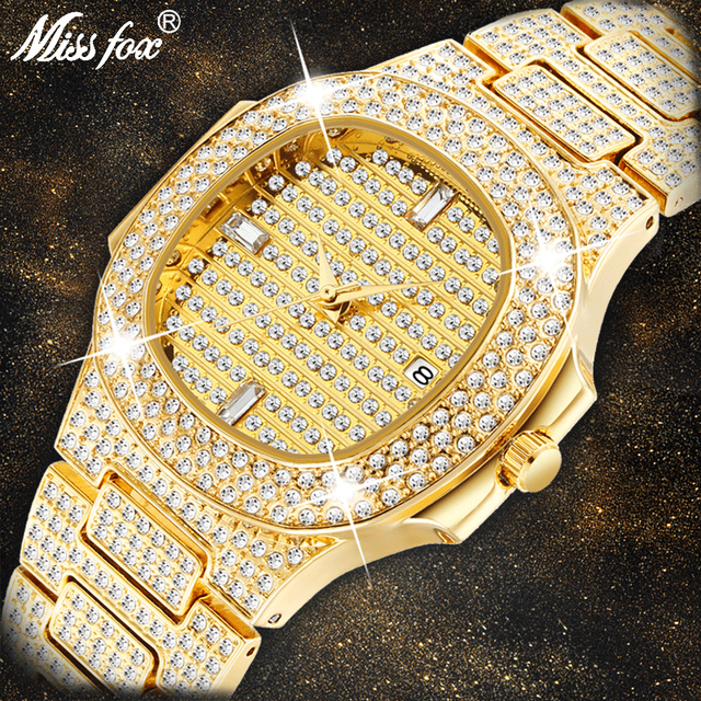 MISSFOX שעוני יד Mens יוקרה מותג לוח שנה גדול יהלומי שעון עמיד למים גברים אופנה Hublo קוורץ שעון פלדת זכר שעון יד