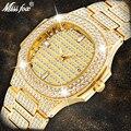 MISSFOX Polshorloge Heren Luxe Merk Kalender Grote Diamant Horloge Waterdicht Mannen Mode Hublo Quartz Klok Staal Mannelijke Polshorloge