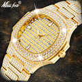 MissFox наручные часы мужские s Роскошные Календарь бренда большие алмазные часы водонепроницаемые мужские модные Hublo кварцевые часы Стальные ...