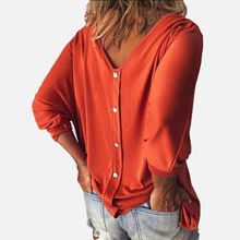Summer Autumn Button Down Top Womens V-neck Solid Color Large Size Tops And Blouses Batwing Sleeve Blouses 2019 Haut Femme charter club womens petites chambray cuffed sleeve button down top