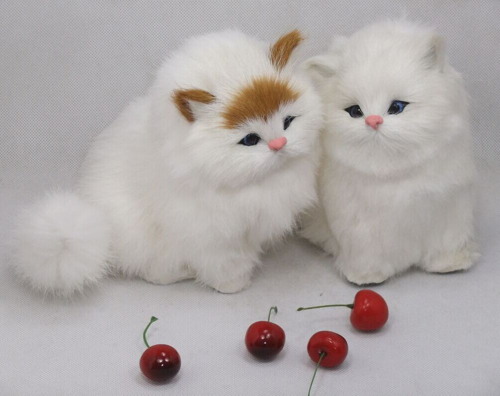 about 16x10x15cm white cat,miaow sound cat animal model toy polyethylene&furs handicraft,props decoration gift A567