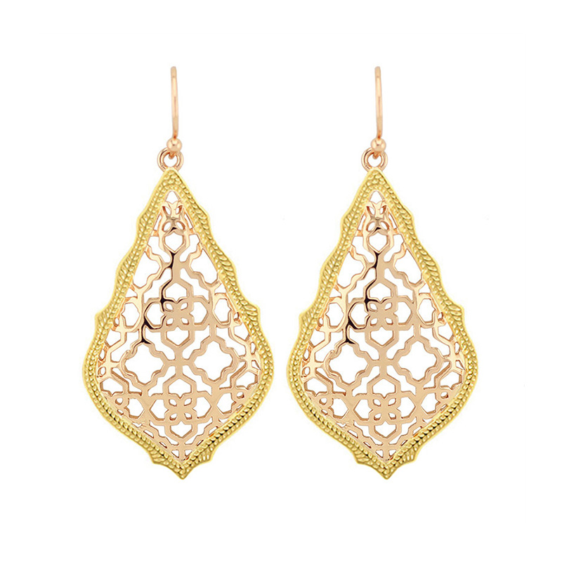 Trendy KS Addie Gold and Rose gold Dangle Earrings Modern Jewelry for Women Wholesale Gift pair of trendy filigree rose gold rhinestone leaf fringe earrings for women