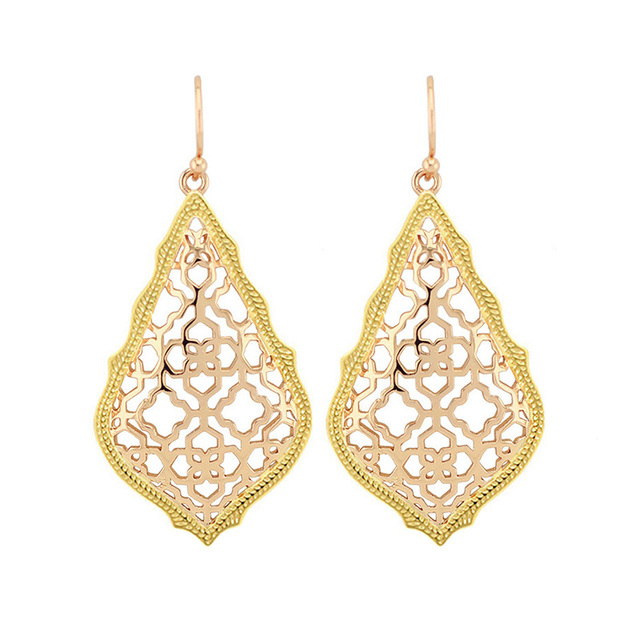 Trendy Ks Ad Gold And Rose Dangle Earrings Modern Jewelry For Women Whole Gift