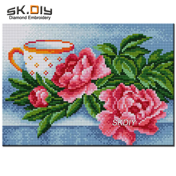 SK DIY 5D diamond mazayka red Peonies flowers cup diamond painting diamond embroidery pattern rhinestone home decor hobby New