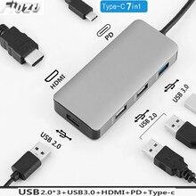 6in 1 USB C Laptop Docking Station USB 3.0 HDMI RJ45 Gigabit PD for MacBook Samsung s10+ s10 s9 s8 Type-c Mobile dock station