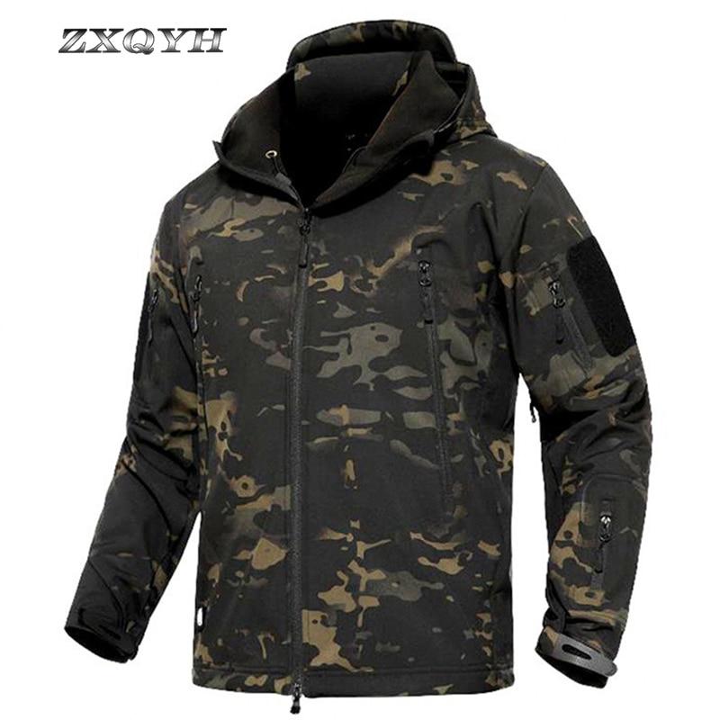 ZXQYH Winter Men Tactical Military Jacket Softshell Camouflage Jacket Coat Outdoor Sport Hiking Waterproof Windproof Jacket